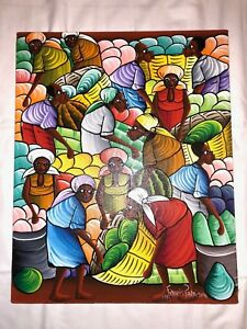 "1993 HAITIAN ARTIST FRANCIS PARAISON 16"" x 20"" ORIGINAL OIL PAINTING ON CANVAS"