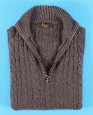 $1715 LORO PIANA 100% BABY CASHMERE / SUEDE Cable 1/2 Zip Sweater - Purple 48 M