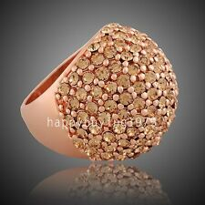 Noble crystal 18K Rose Gold Plated globular Fashion Jewelry Ring 457