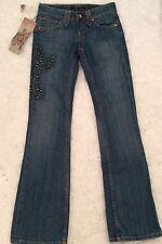 Anoname Womens Boot Cut Embelished Cross  Designer Denim Jeans Sz 26 Medium Wash