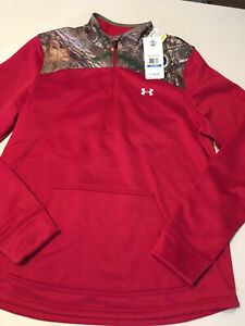 Under Armour Women's Cold gear RealTree Hunt Camo 1/4 ZIP Pullover...Sz XL...NWT