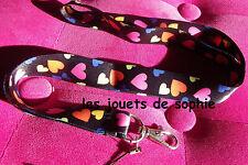 coeur TOUR COU cordon noir amour love porte clef Badge KEYCHAIN clef lanyard