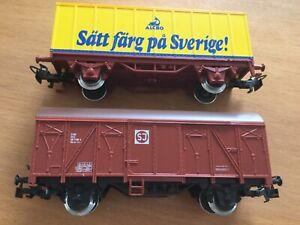 Märklin Konvolut 2 Wagen, 4408 und 4483 SJ Güterwagen Schweden neuwertig ovp