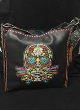 Montana West Delila Black Leather Embroidered Skull Messenger Tote Multi Colored