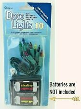 Darice Multi Color Mini Battery Operated String Lights 10 ct Green Wire, Crafts