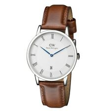 New Daniel Wellington Dapper St Mawes Silver Brown Leather Men's Watch 1120DW