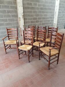 ANTIQUE/REPRODUCTION SET OF 8 SOLID OAK KITCHING/FARMHOUSE LADDER BACK CHAIRS