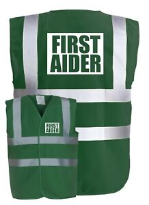 FIRST AIDER Paramedic Green Hi-Vis High-Vis Visibility Safety Vest/Waistcoat