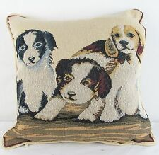 Tapestry Cushion Filled 3 Dogs or Pups Signare -  45x45cm