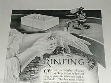 1920 IVORY SOAP advertisement, Procter & Gamble, lady washing hands, Rinsing