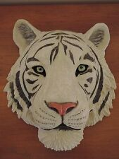 Tiger Head Black & White Hanging Wall Mount Home Decor Statue Collectible