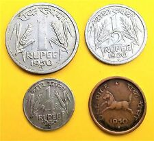 Republic India-1950 coins-1 Rupee,1/2,1/4 rupee &1 pice-BOMBAY MINT-4 SET-SUPERB