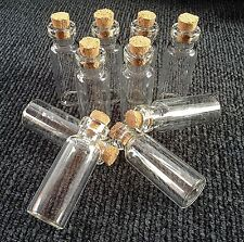 10 Mini Glass Bottles/Jars/Vials With Cork Stopper Size 45mm x 16mm.  (I)