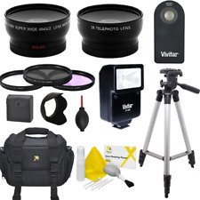 WIDE ANGLE LENS + ZOOM LENS +3 FILTERS FLASH BAG TRIPOD FOR CANON REBEL T5 T6 T7