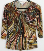 CHRISTOPHER & BANKS Small Women's Top 3/4 Sleeve Ruched Neckline Multicolor