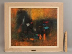 Original LEBADANG Modernist Abstract Oil Painting, PECHEURS Fishermen
