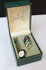 GUCCI Womens Elegant Golden 5 Bezel 1100-L Watch w/ Case ~ Band Broken