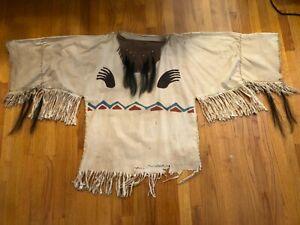 Mountain Man Shirt, Reenactment, Indian, Colonial Men's Large White Hand Made