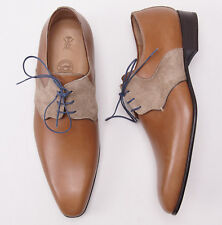 New $1080 SUTOR MANTELLASSI Two-Tone Leather and Suede Tan Derby 9 D Shoes