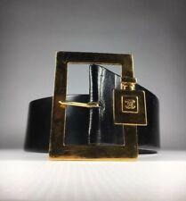 Vintage Chanel Black Leather Belt with Perfume Bottle Buckle 65/26