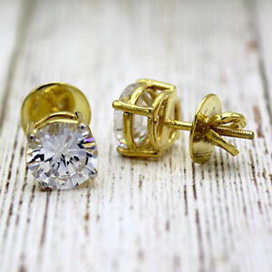 5 TCW Classic Round Moissanite EVERYDAY Stud Earrings 14KT solid real yellowGold