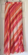 Chicos Women Sunset Stripe Maxi Skirt Chicos sz 1 = ( 8 / 10 ) Pink Orange White