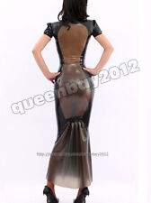 100% Latex Rubber Gummi Läng kleid Dress Ganzanzug Anzug Catsuit Partei Abend