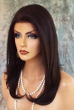 HUMAN HAIR BLEND WIG HEAT SAFE LACE FRONT CLR #2 EXQUISITE CLASSY US SELLER 1061