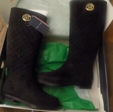 Tommy Hilfiger Babette Tall Knee High Quilted Rain Boots Black M Size 7 US NIB!!