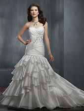NC7 ALFRED ANGELO 2303 DIAMOND WHITE METAL SZ 12 $1399  WEDDING GOWN DRESS