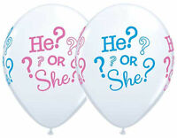 "10 pc - 11"" He? or She? Gender Reveal Latex Party Balloons Baby Girl Boy Shower"