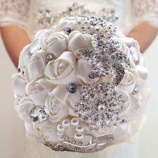Handmade Rose Flower Silk Crystal Pearl Brooch Wedding Bridal Bouquet White