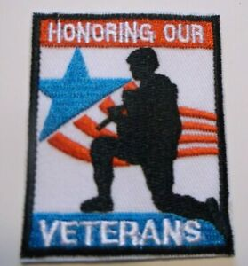 """Honoring Our Veterans~Military~Embroidered Patch~2 3/4"""" X 2 1/4""""~Iron or Sew On"""