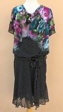 Jurimex Dress Short Sleeve Belted Floral Print Polka Dot Multi 52 XL