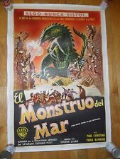 Beast From 20,000 Fathoms ORIG Argentina 1950's ONE-SHEET POSTER LINENBACKED