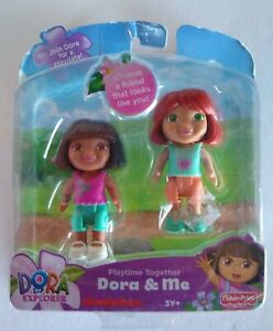 "Fisher Price Playtime Together Dora & Me Red Hair Set of Two 3"" Figures 2012"