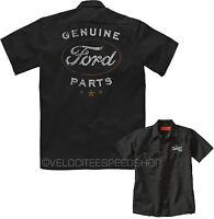 Velocitee Mens Mechanic Garage Work Shirt Licensed Ford Parts Logo A21281