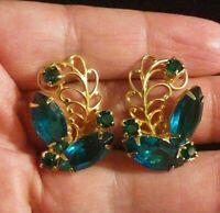 Vtg Juliana D&E Emerald Green Fat Navette Rhinestone Earrings Open Back Unsigned