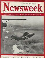 NEWSWEEK FEB 10 1941 - WWII NAZI PARACHUTE INVASION TACTICS, JIMMY ORLANDO NHL