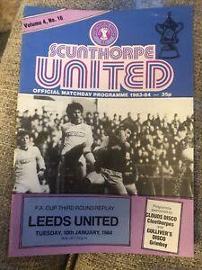Scunthorpe United V Leeds United 10/1/84 1984 Match Programme FA Cup