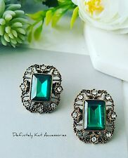 Vintage gold green & white crystal emerald cut statement filligree stud earrings