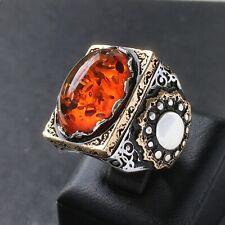 Silver Mens Ring Fire Amber 925 Sterling Turkish Artisan Handmade Jewelry