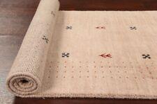 "Light Beige 10 ft Tribal Runner Gabbeh Oriental Hand-Knotted Rug 9' 11"" x 2' 8"""