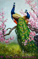ZWPT1474  100% hand painted oil painting two fine color peacock art on Canvas
