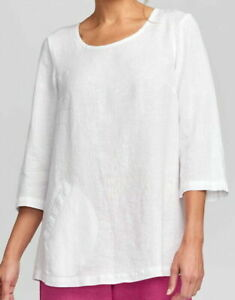 FLAX Designs  Linen Tunic   2G  &  3G    NWT  Back Up Tunic  WHITE