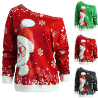 Women Christmas Santa Claus Print Skew Collar Long Sleeve Sweater Blouse Tops