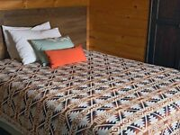 "Thick heavy Handwoven ALPACA Wool Blanket Bed Cover 80"" X 85"" QUEEN size plus"