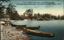 Webster MA Beacon Park Canoes & Bldgs c1910 Postcard