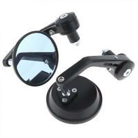 """1 Pair 7/8"""" 22mm Motorcycle Rear View Black Handle Bar End Side Rearview Mirrors"""