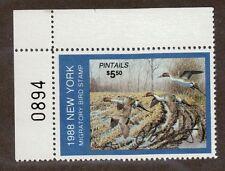 NY4 - New York State Duck Stamp. Top Left. PNS. Artist Signed. MNH. OG.